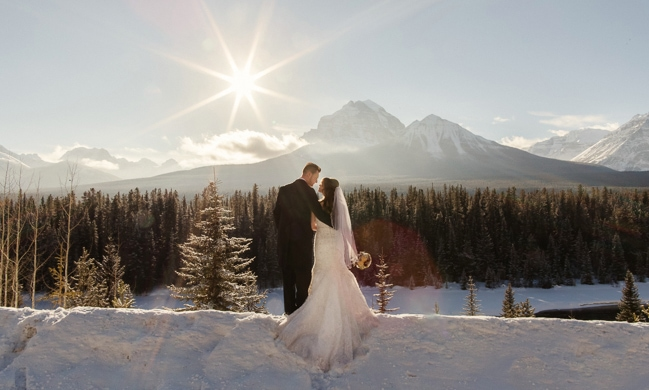 Laat je inspireren door deze romantische winterbruiloft in Lake Louise