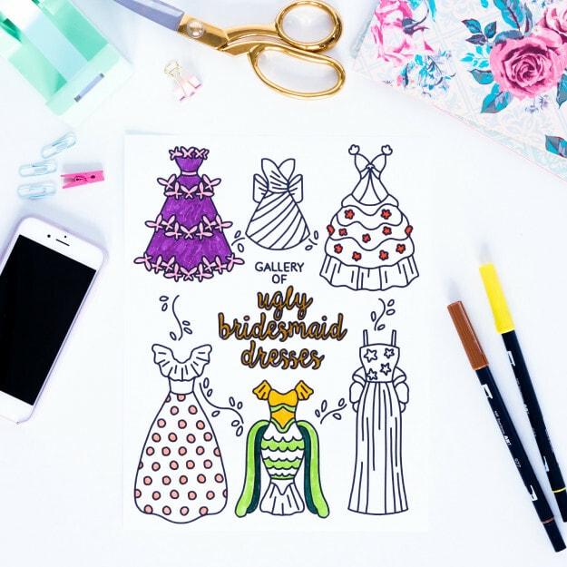 Kleurplaten bruiloft bruiloftstress 2