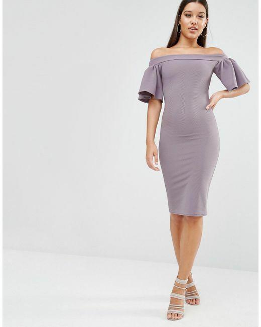 jurken-voor-bruidsmeisjes-lila-paars-lilac-off-the-shoulder-my-love-midi-bardot-dress