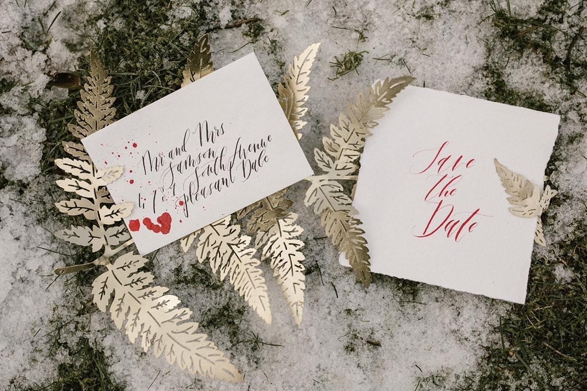 sprookjesachtige bruiloft in de sneeuw - trouwkaarten