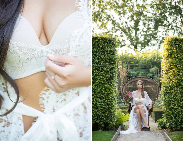 WIN: Een bridal boudoir fotoshoot van Blik en Bloos Fotografie en The Bridal artist