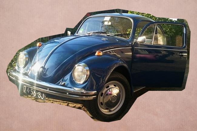 Trouwauto Volkswagen Beatlte Blauw