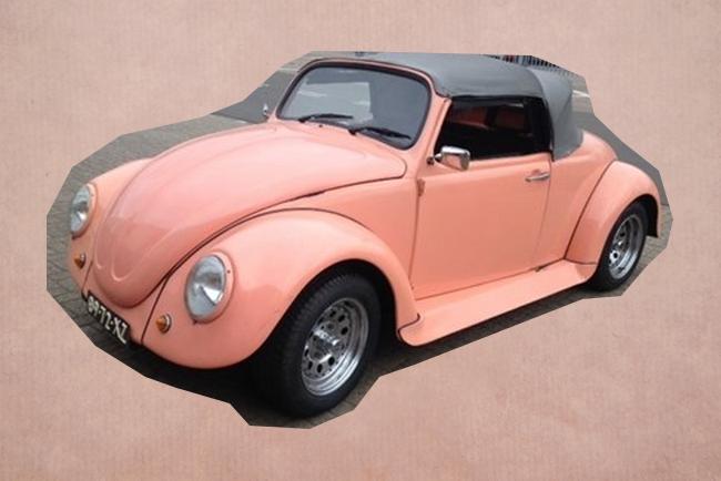 Trouwauto Volkswagen beatle roze