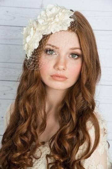 birdcage veil blusher floral