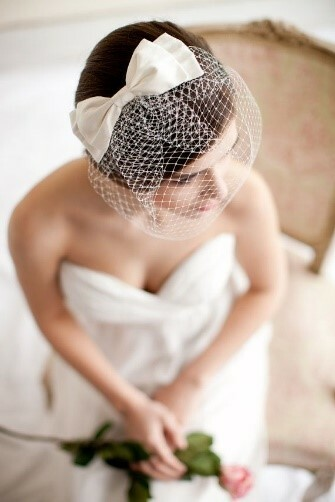 birdcage veil with silk bow blusher